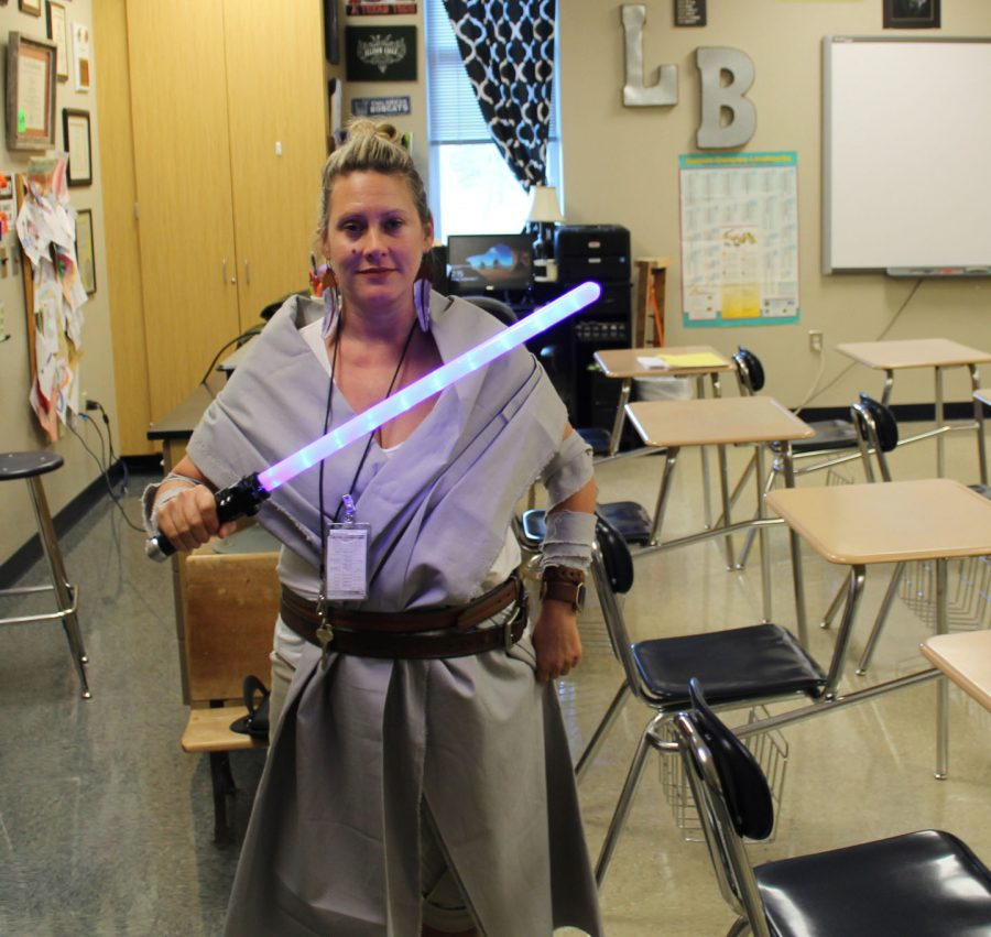 Biology teacher Mrs. Wells was one of very few to dress up for the Star Wars pep rally theme day.