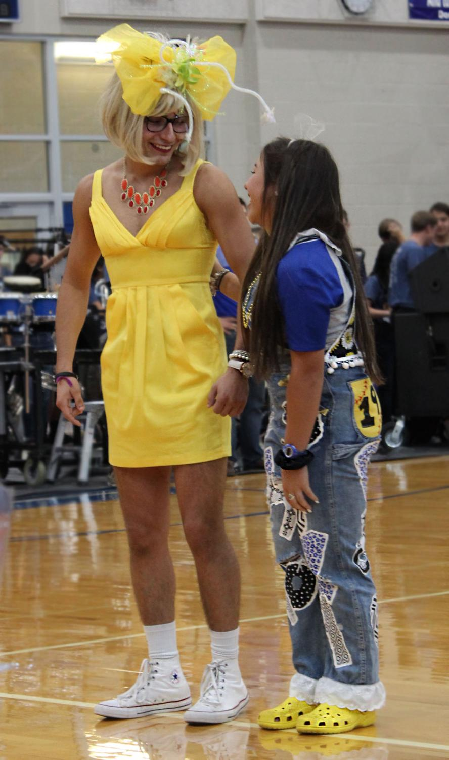 Eric Flores and Monica Garza laugh together during the Homecoming pep rally. Flores was elected King at the end of the pep rally and Garza was elected Queen that night at the football game.