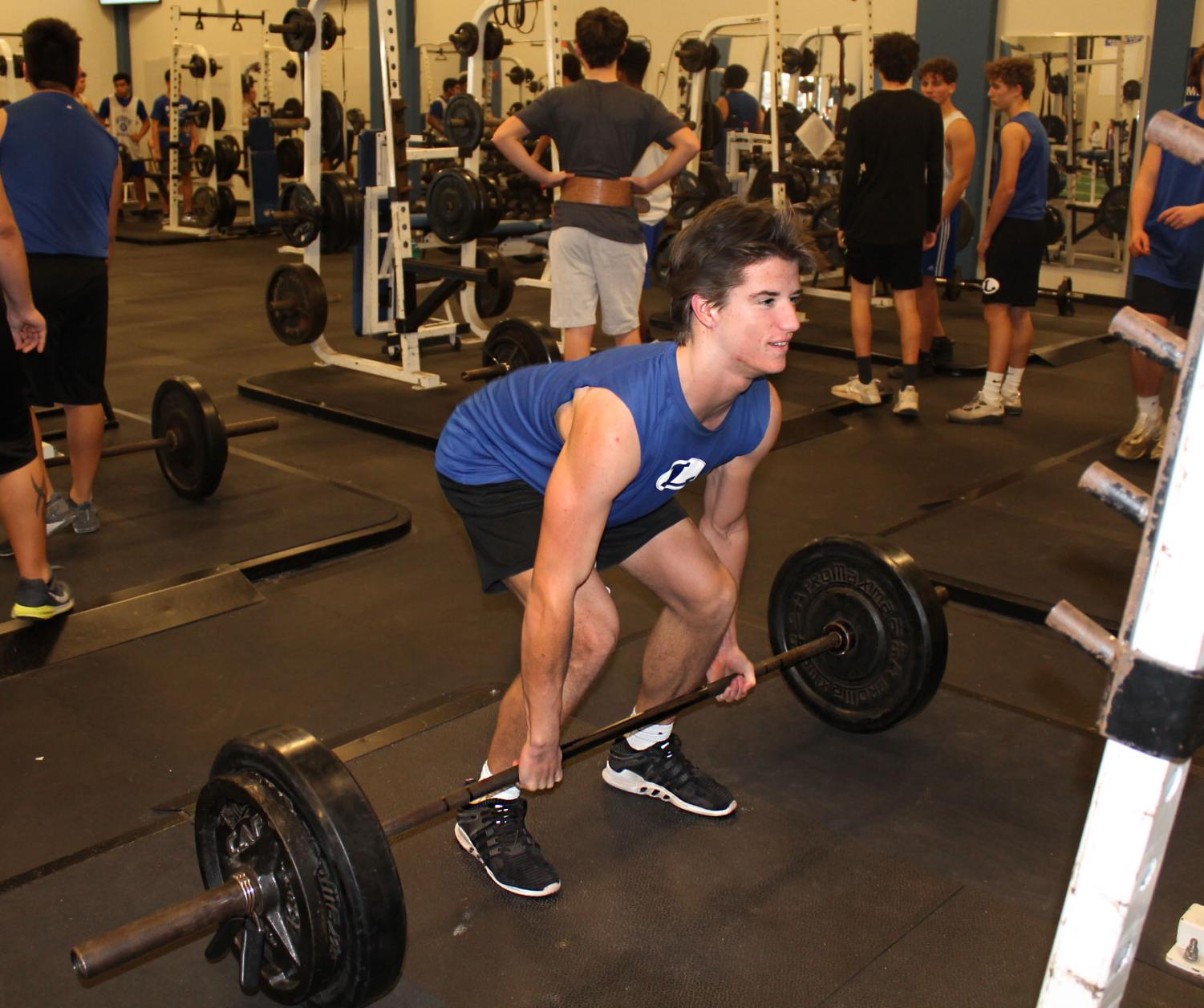Junior Clayton Bever deadlifts during powerlifting practice. The first powerlifting meet is Thursday, Jan. 17 at Lampasas.