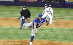 Junior Marty Ybarra pitches during the 5th inning against Marble Falls on Feb. 21.