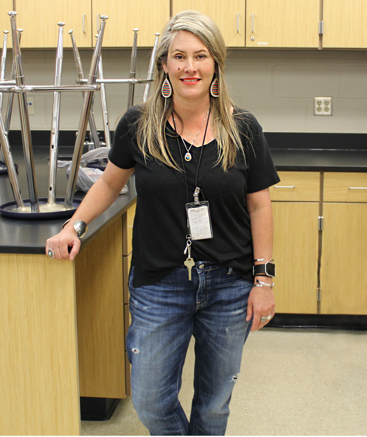 Biology teacher Kalin Wells is one of the winners of the Teacher of the Year Award.