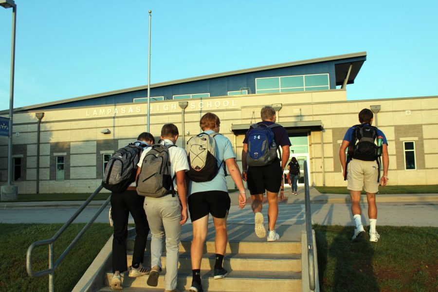 Students enter the LHS building to begin the school day. This is the tenth school year this building has been open.