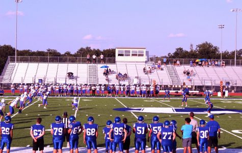 Freshman kick off during first game on turf on Aug 29.