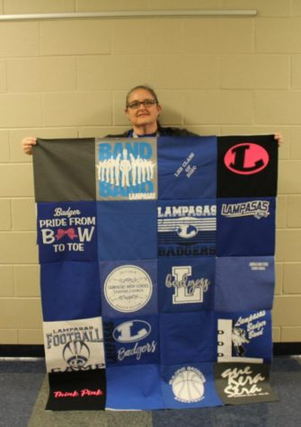 Science teacher Deja Bushong is making a T-shirt quilt to donate for a Project Graduation fundraiser.
