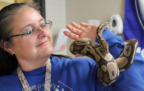 Biology teacher Dejah Bushong holds Barrie, her pet ball python.