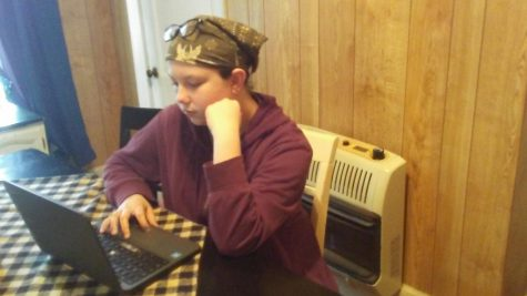 Seventh grade student Aerilyn Garner finishes science classwork from home. For your mental health, it is important to take time for hobbies you enjoy after finishing work everyday.