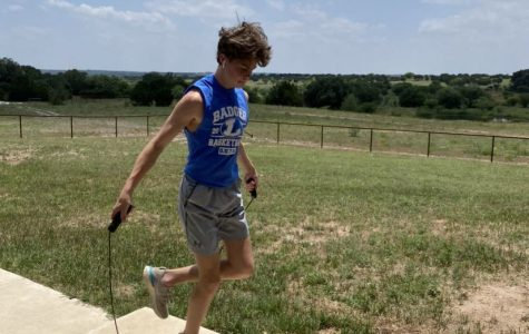 Sophomore Nate Borchardt physically trains at home due to COVID-19.