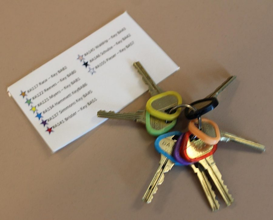 Janitorial keys are color-coded for the life skills students to use to access areas of the school to clean.