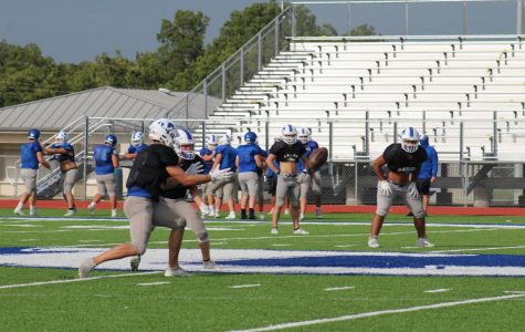 The football team practices after school Sept. 9. They play the Wimberly Texans tonight at 7:30.