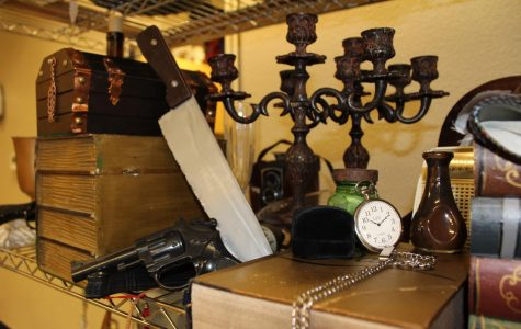 Props selected by the theatre company for the upcoming murder-mystery