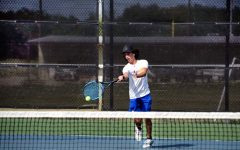 Junior Elias Arellano plays singles against his Burnet opponent Aug 28.