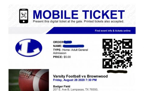 Spectators show a digital or printed ticket like this one to be scanned to enter sporting events this year. Tickets must be purchased online before the game to avoid contact at the gate.