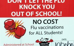 This is the sign at the front of the school advertising the flu shot. The date has now been changed to Nov. 4.