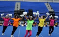 The cheerleaders perform at the only in-person pep rally Nov. 6.
