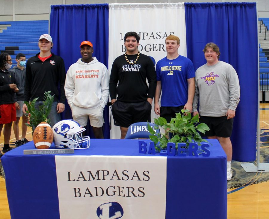 Seniors Lane Haviland, Michael Murray, John Long, Owen Seaver and Hayden Waldrip after signing their National Letter of Intent Feb. 3.
