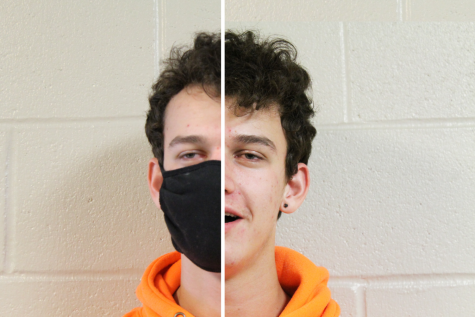 "Junior Brenden Burke is shown wearing a mask on one half of his face and not on the other. Wearing masks has become the ""new normal,"" but it leaves people curious about what someone"
