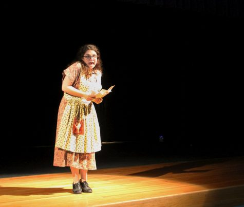 Senior Makayla Osburn recites a monologue as her character Lillian in the One Act Play Saint Frances of Hollywood.