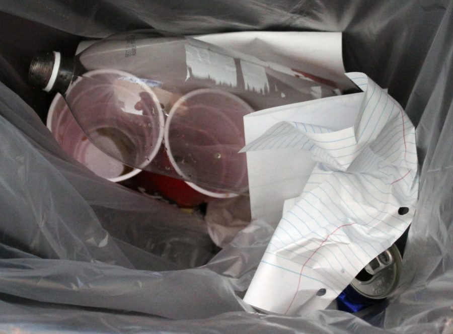 Paper, plastic and aluminum are not separated for recycling at the high school.