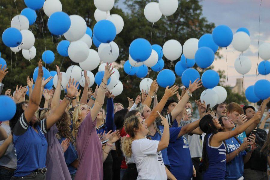 Seniors release balloons at Badger Field Sept. 15.