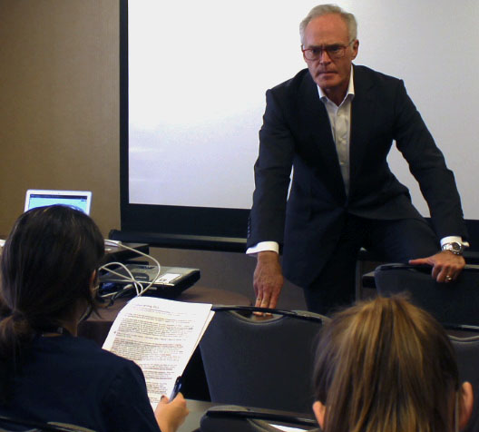 60 Minutes correspondent Scott Pelley answers questions during the Texas Association of Journalism Educators press conference Oct. 16.